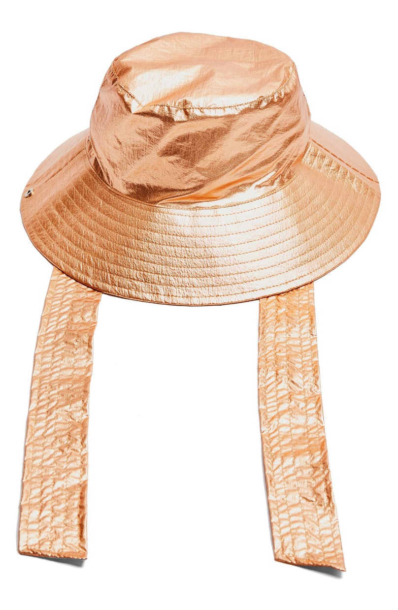 A metallic bucket hat on sale at Nordstrom