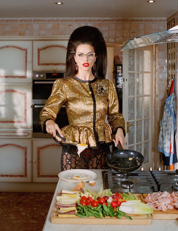 Adriana Lima in the kitchen