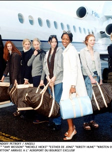 naomi campbell and models on louis vuitton plane