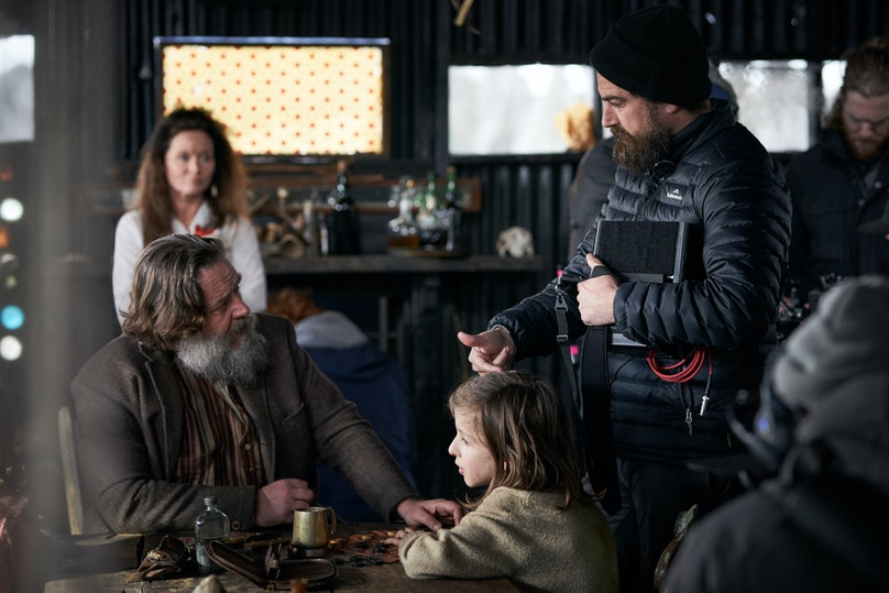 Justin Kurzel on set with Russell Crowe.