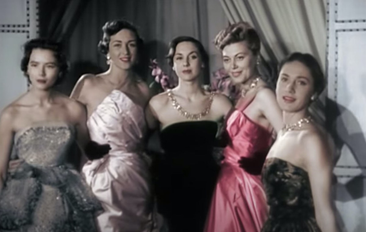 Models at Dior's 1949 haute couture show.