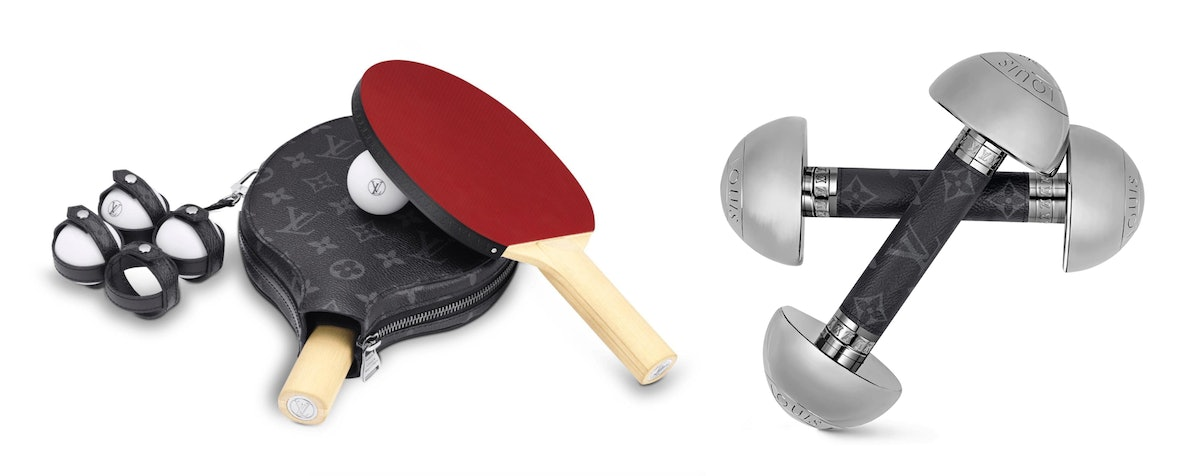 Louis Vuitton ping pong set and dumbbells