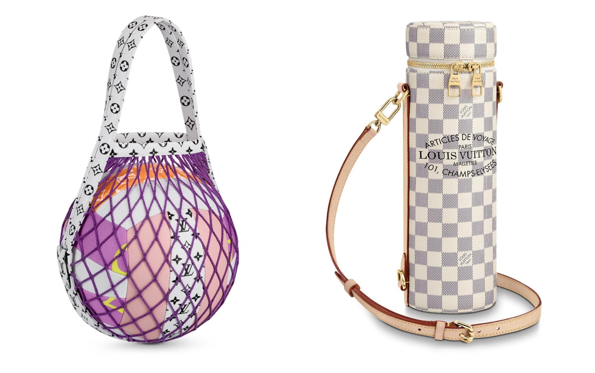 A Louis Vuitton volleyball and bottle holder