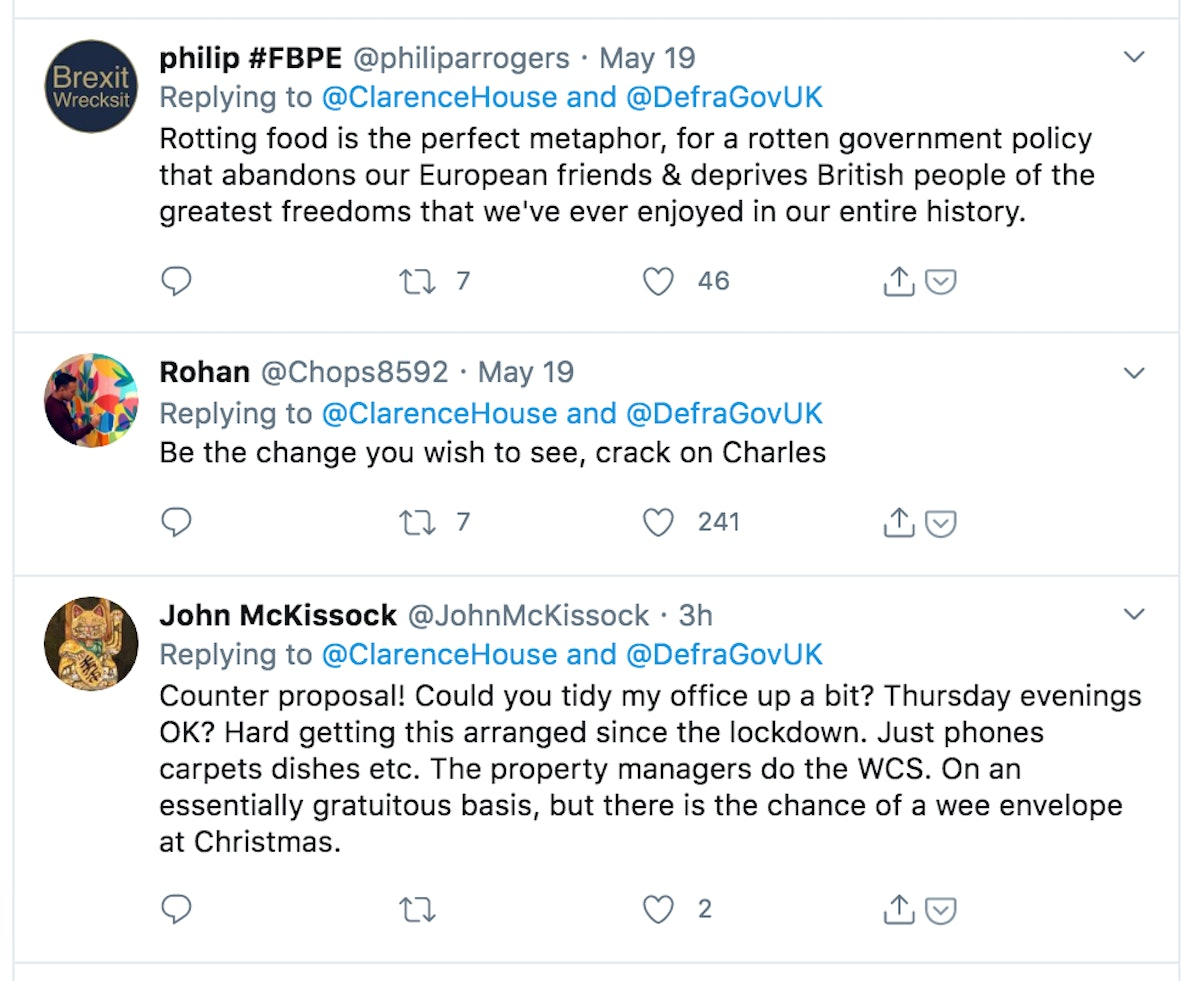 Replies to a Clarence House tweet