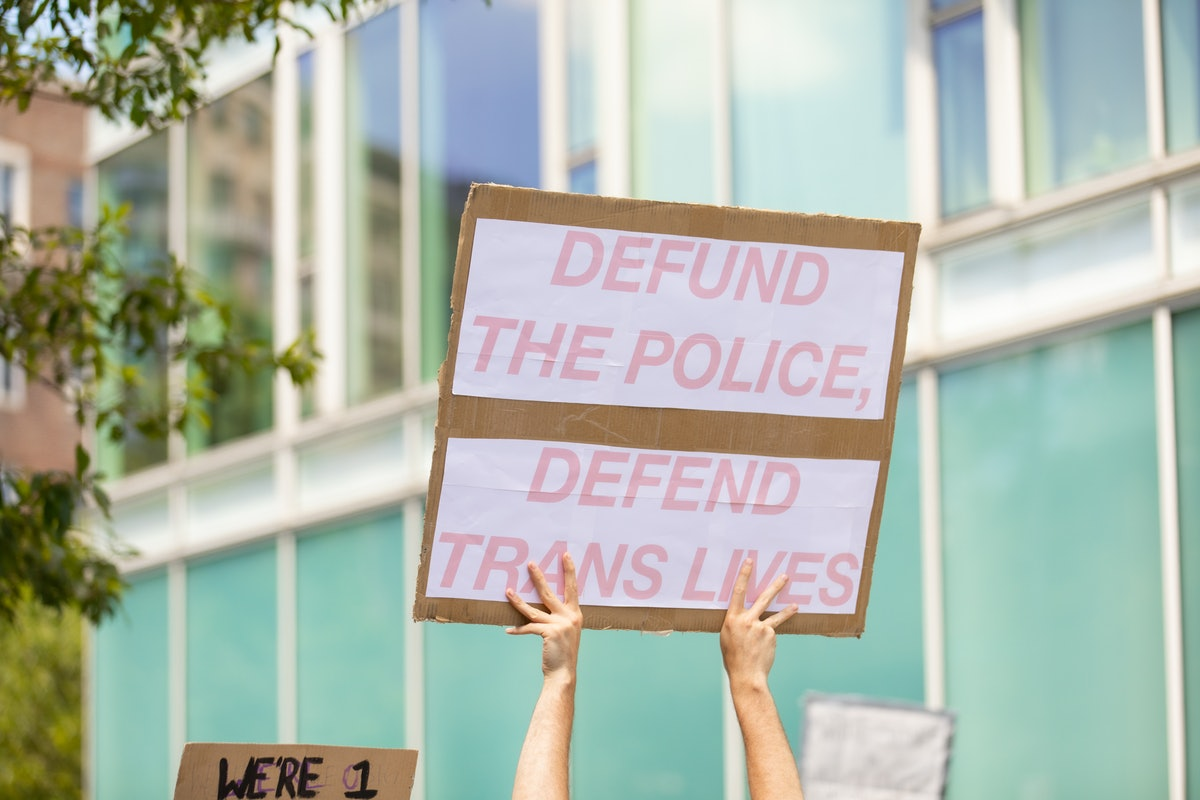 A protest sign