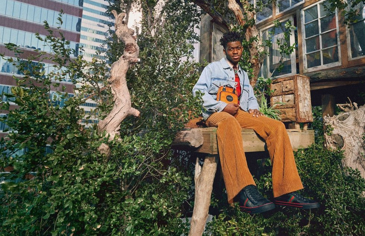 Lil Nas X in a Gucci treehouse.