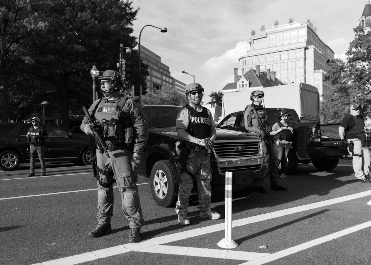 Cops and National Guard at a protest