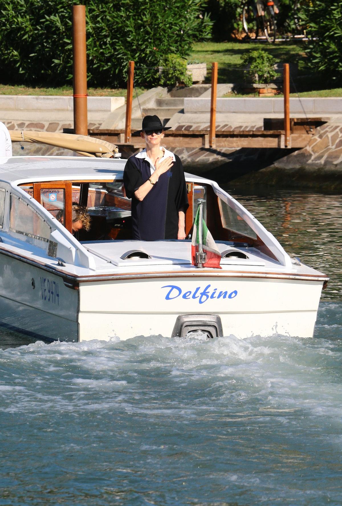 Tilda Swinton on a boat