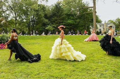 Models walking Christian Siriano's spring 2021 show
