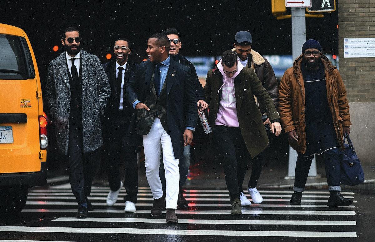 Fashion Week people crossing the street