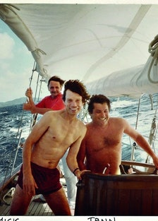 Mick Jagger and Jann Wenner on a boat