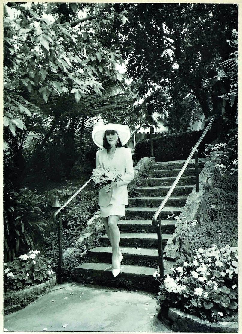Anjelica Huston on her wedding day