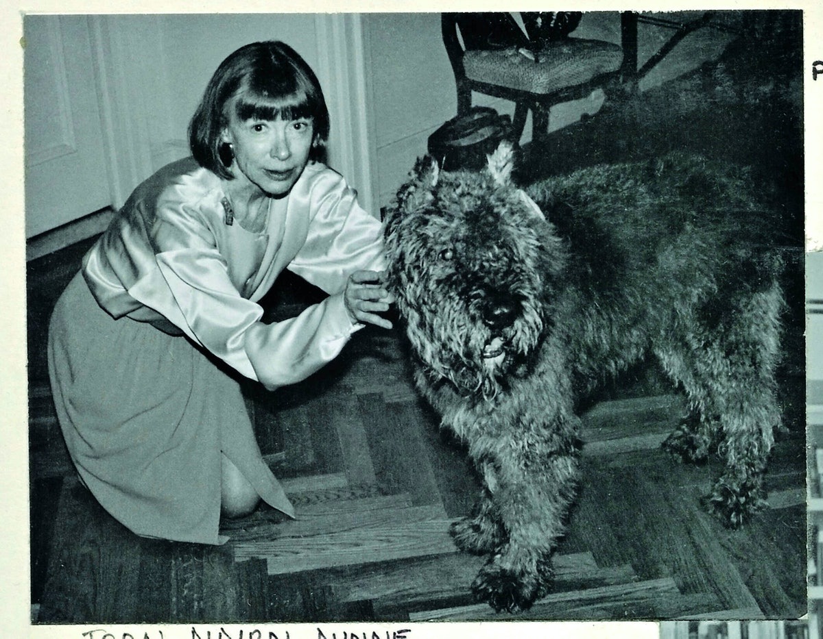 Joan Didion with her dog