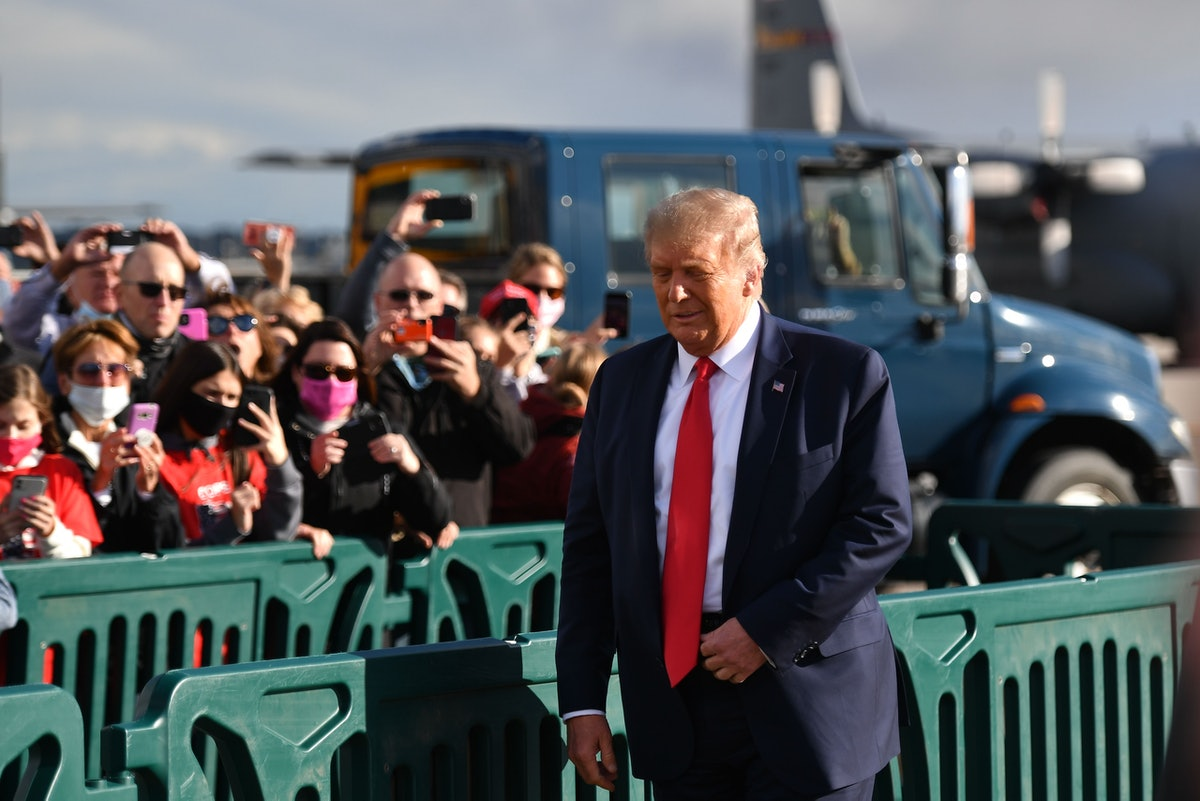 Donald Trump with crowd.