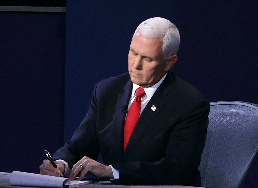 Mike Pence with a fly on his head