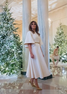Melania Trump in the White House with Christmas trees