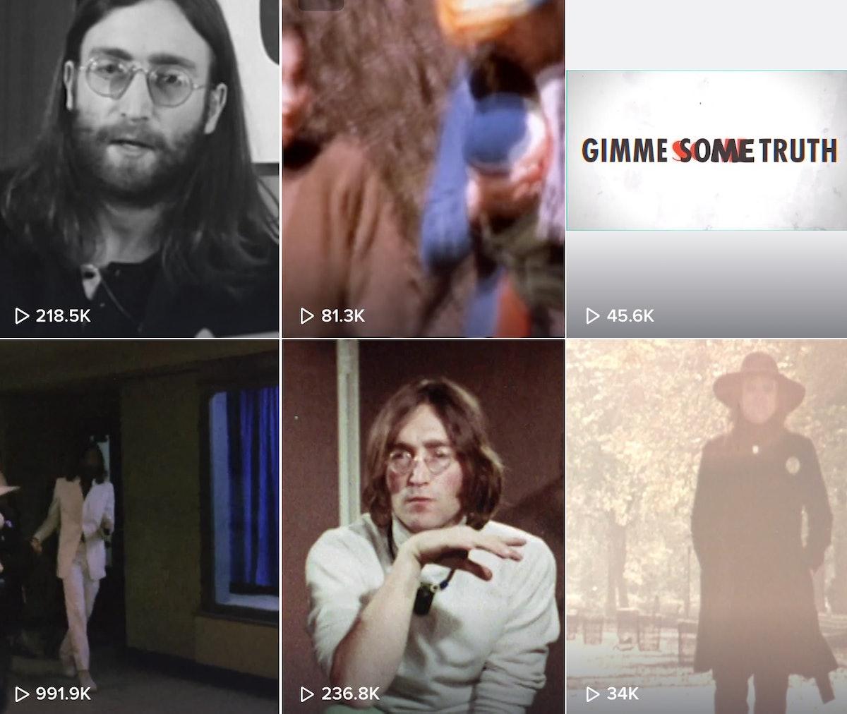 John Lennon's TikTok grid.