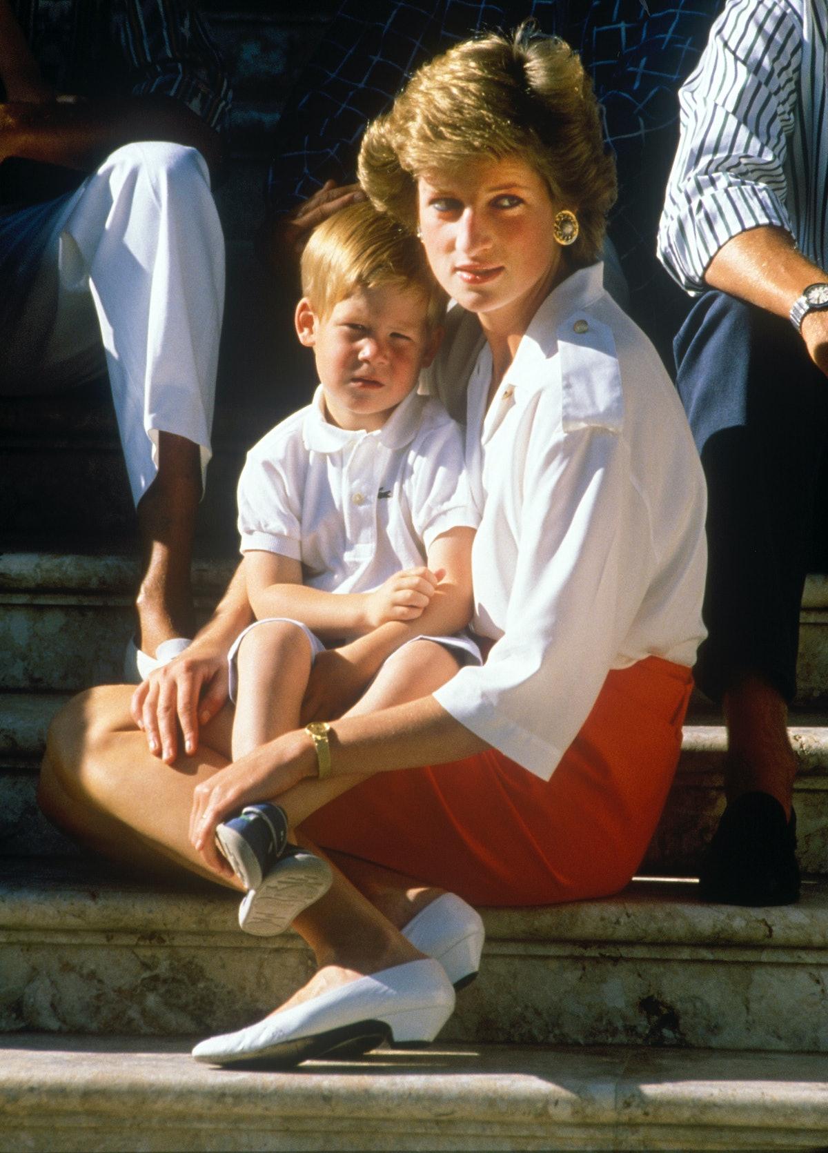 Prince Charles and Princess Diana on the steps of Marivent Palace