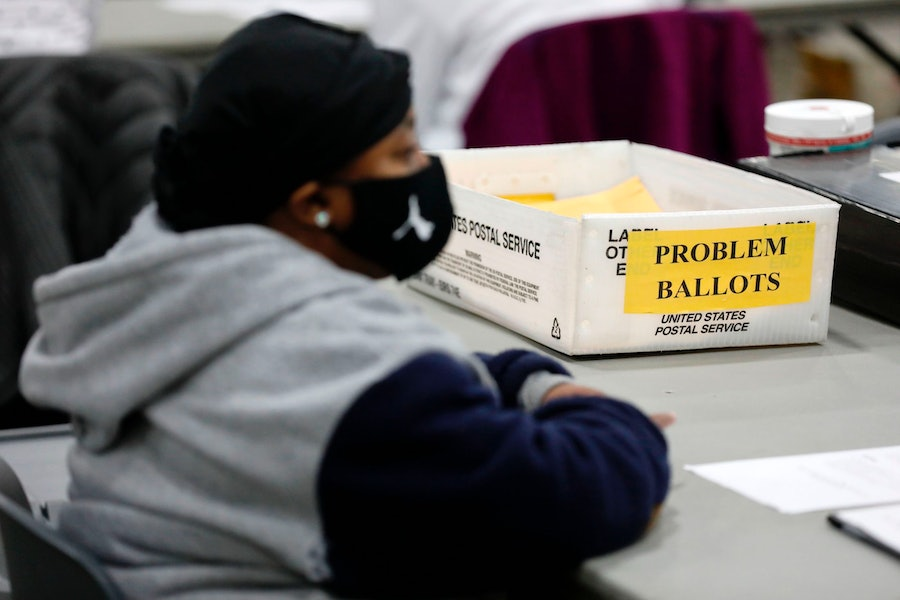 """An election poll worker with """"problem ballots"""""""