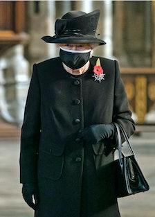 Queen Elizabeth II wearing a face mask