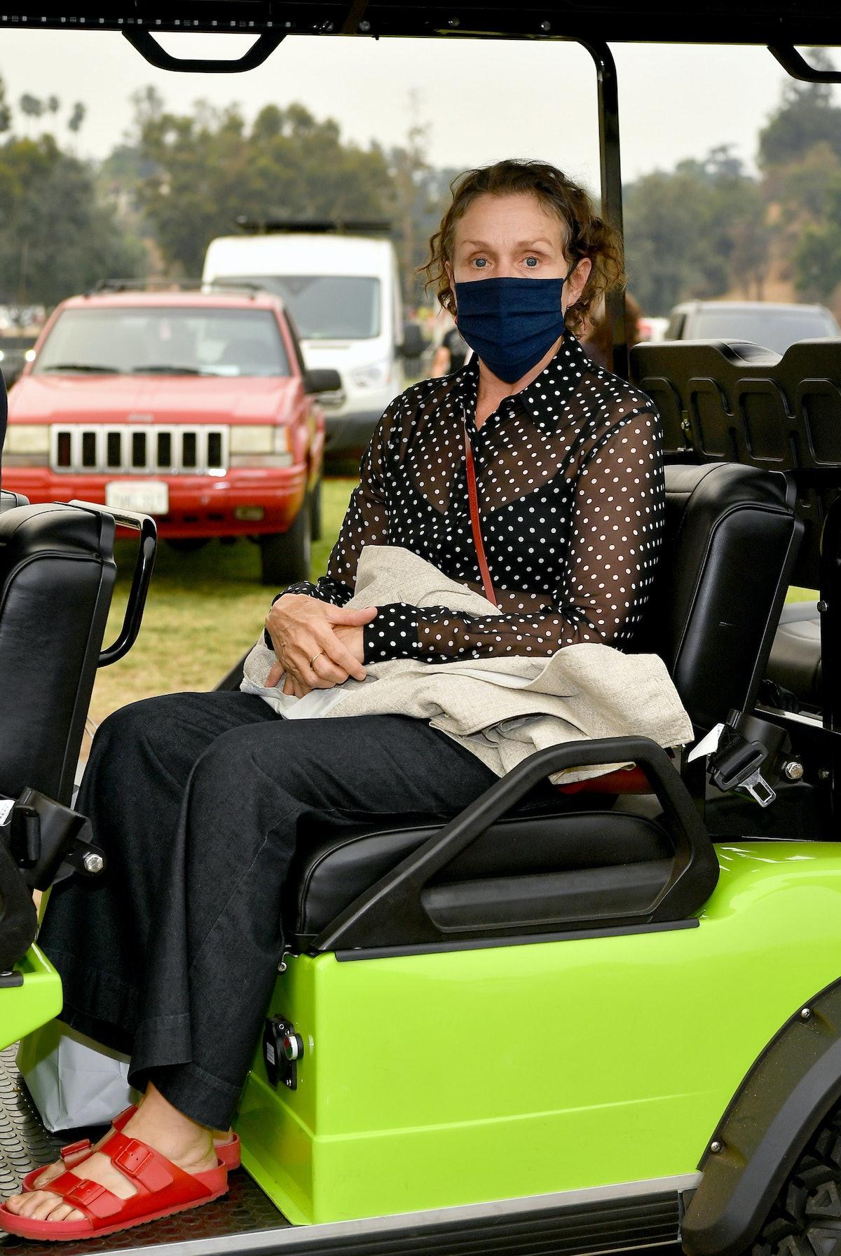 Frances McDormand on a tractor