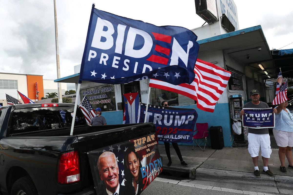 Political trucks in Miami.