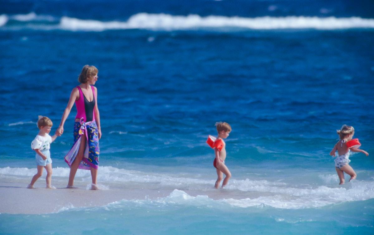 Princess Diana with kids on the beach