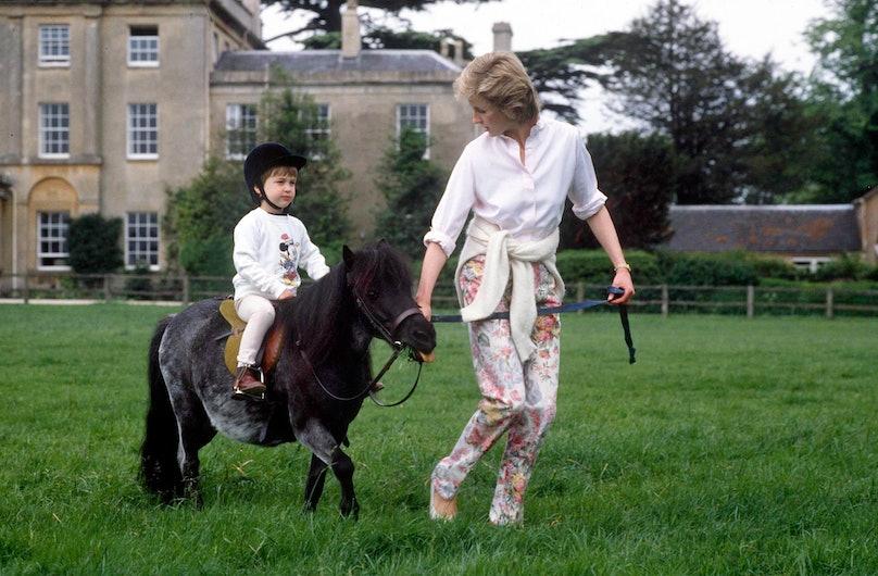 Prince William on his pony with Princess Diana