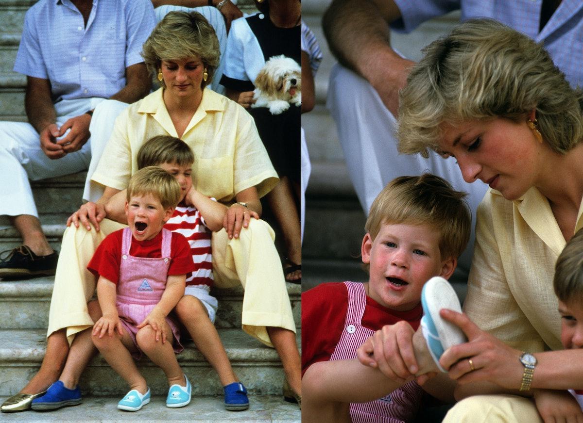 Princess Diana with Prince Harry and Prince William