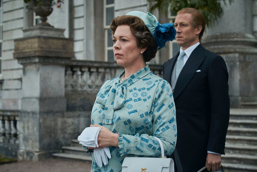 Olivia Colman playing Queen Elizabeth II