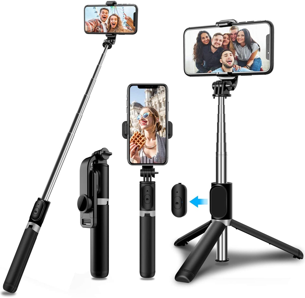 An array of selfie sticks