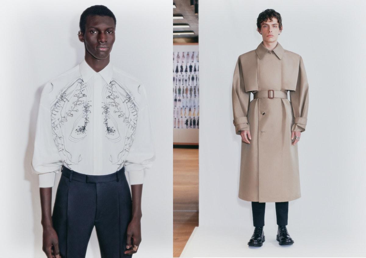 Two models in an Alexander McQueen lookbook