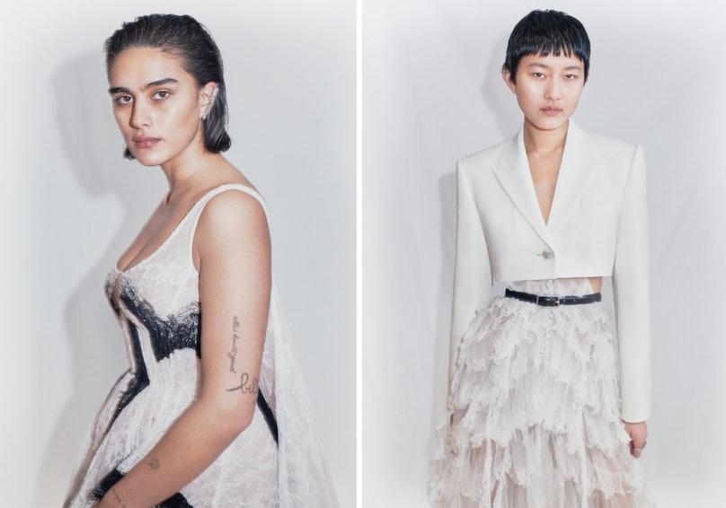 Two models wearing Alexander McQueen