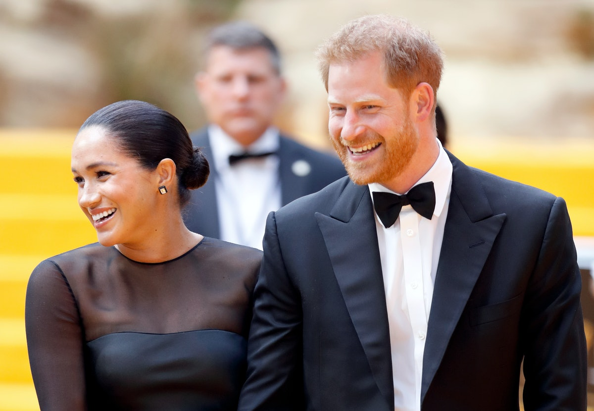 Meghan Markle and Prince Harry in fancy attire.
