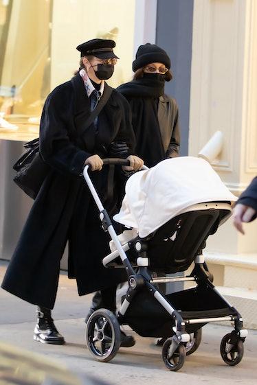 gigi and bella strolling with gigi's baby