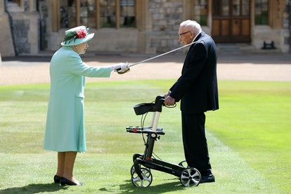 Queen Elizabeth II knighting Thomas Moore