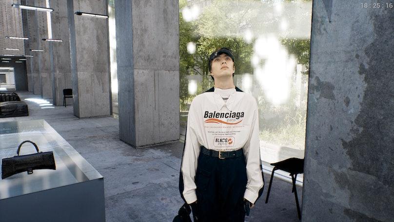 """A """"model"""" in the Balenciaga """"video game"""""""