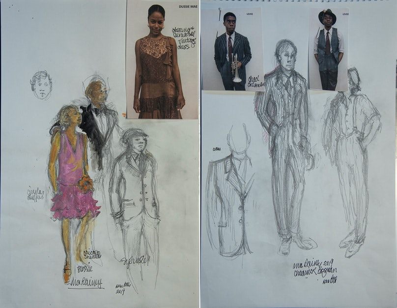 Ann Roth's costume sketches for Ma Rainey
