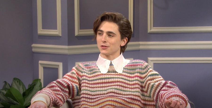 Timothée Chalamet dressed as Harry Styles.