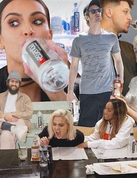 Collage of Celebrities Drinking Essentia