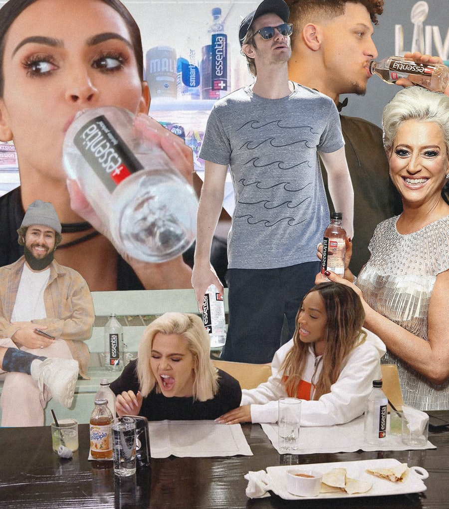 Collage of Celebrities Drinking Essentia