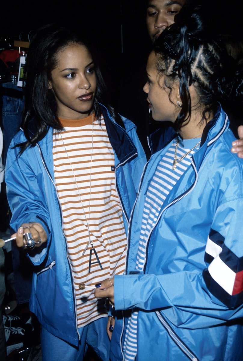 Aaliyah at a Tommy Hilfiger show