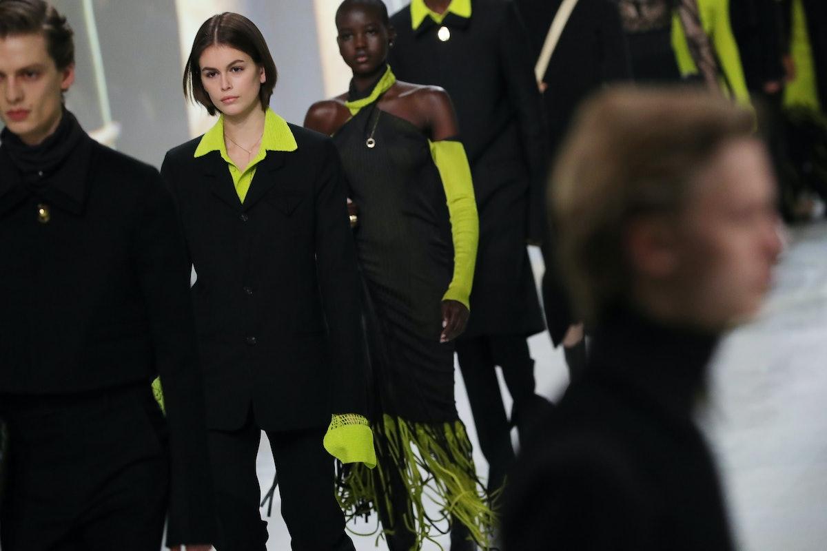 Kaia Gerber walks a Bottega Veneta runway show.
