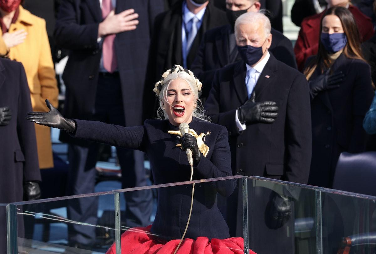 Lady Gaga sings before Joe Biden.