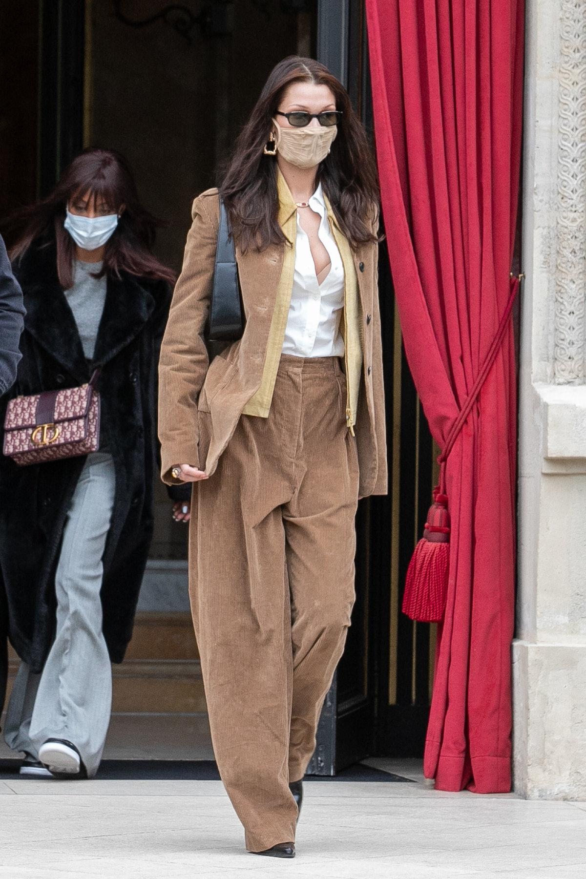 Bella Hadid wearing corduroy