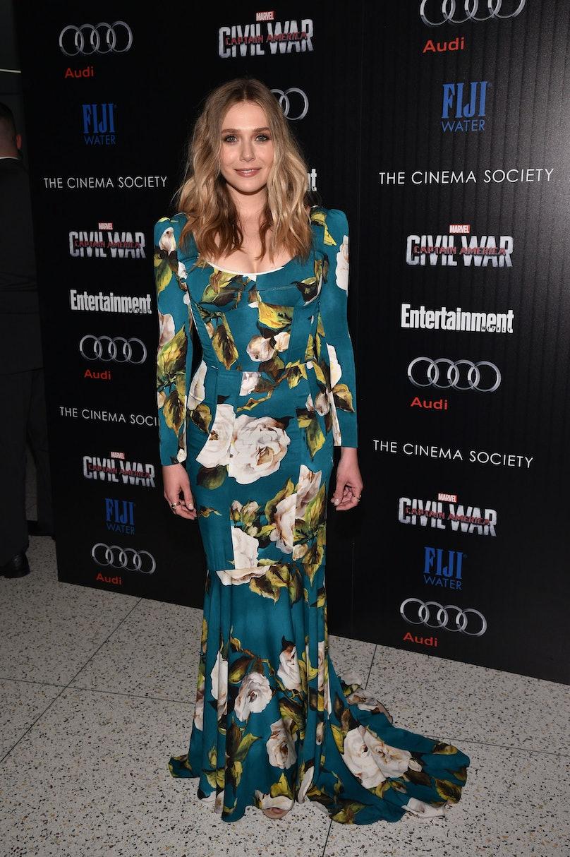 Elizabeth Olsen in a floral dress.