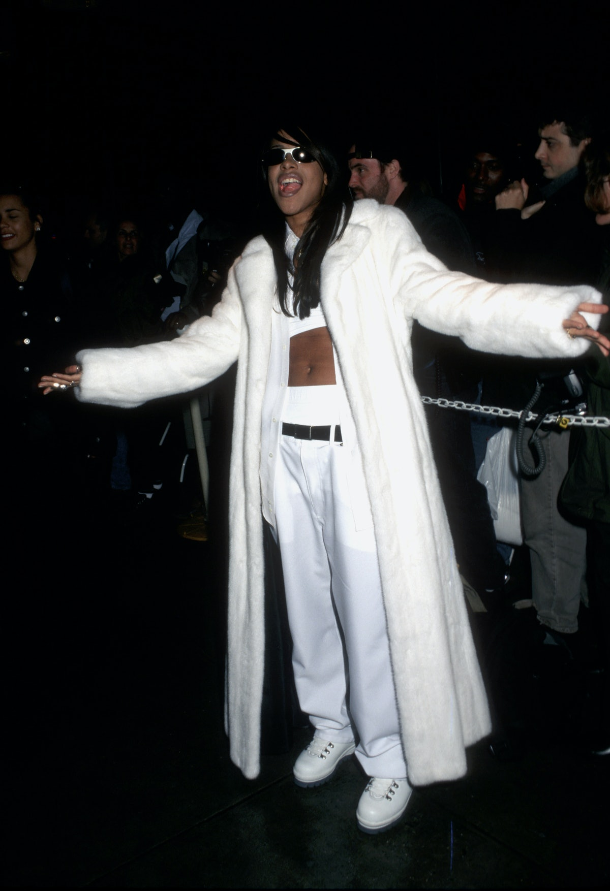 Aaliyah in a white coat