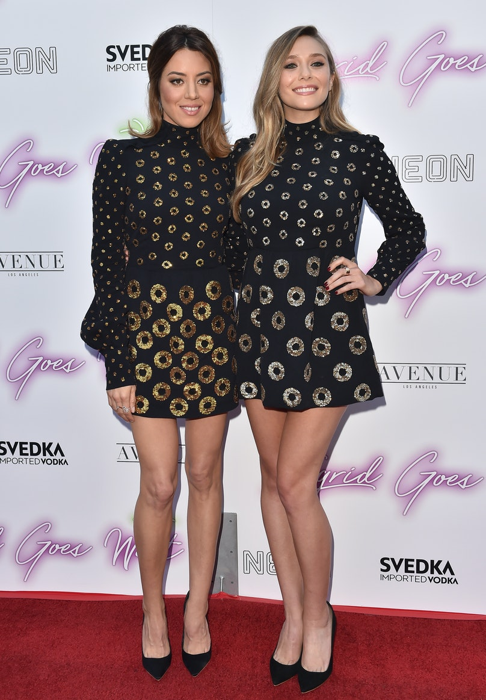 Elizabeth Olsen and Aubrey Plaza wear same dress.