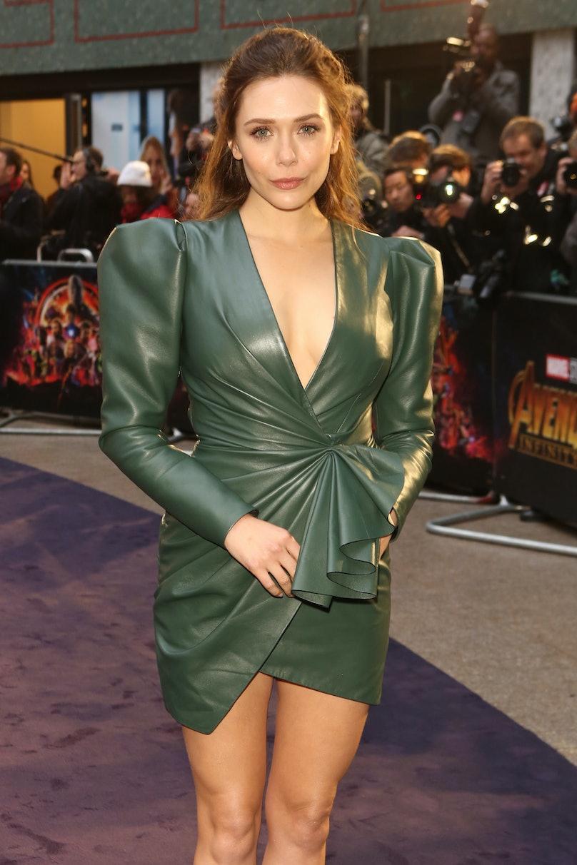 Elizabeth Olsen in green leather dress.