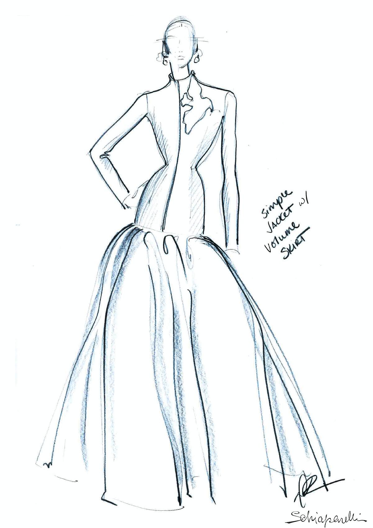 Sketch of Lady Gaga inauguration dress.